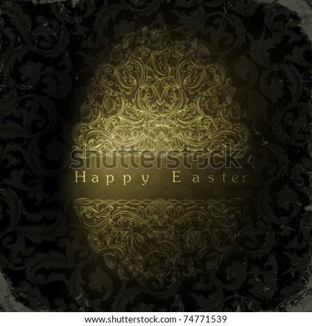 Vintage golden ornamental egg with stylish greetings text. - stock vector