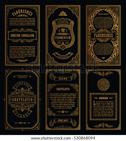 Vintage golden vector set retro cards. Template greeting card wedding invitation. Line calligraphic frames. Floral engraving design labels advertising place for text. Flourishes frame background