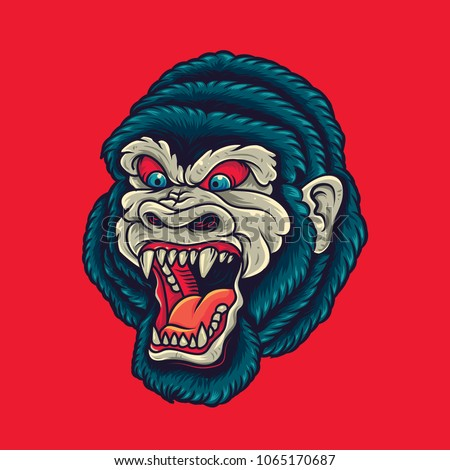 vintage Gorilla / King Kong Head Old School Tattoo Illustration