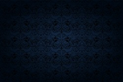 vintage Gothic background in dark blue and black with a classic Baroque pattern, Rococo