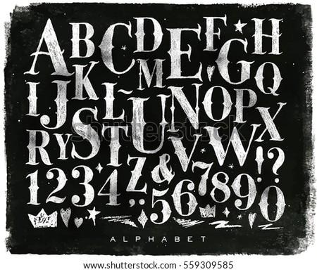 vintage gothic font in retro...