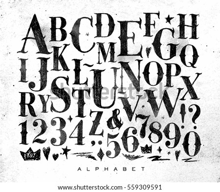 Vintage gothic font in retro style drawing on dirty paper background - Shutterstock ID 559309591