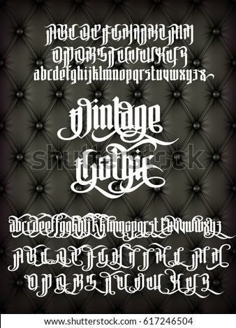 Vintage gothic - modern font on old fashion leather background. Letters with alternate decoration elements. Vector alphabet