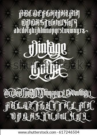 vintage gothic   modern font on ...