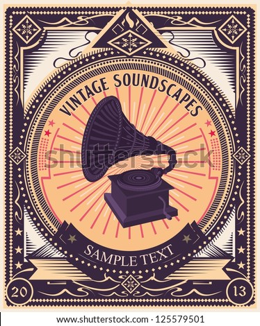 Vintage gramophone & propaganda style poster. Highly detailed original illustration,  just add your own text to customize it. Fully editable and scalable.