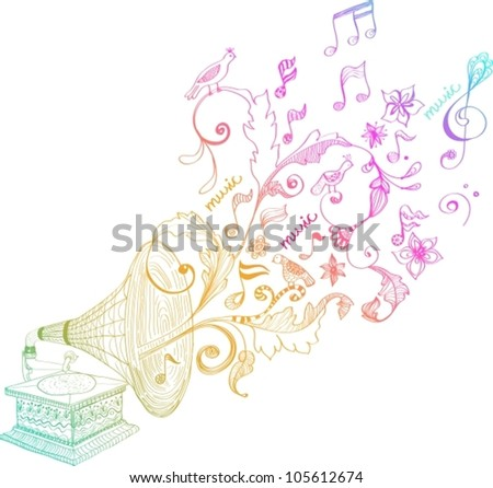 Vintage Gramophone, Record player background with floral ornament, beautiful vector illustration
