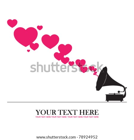 Vintage gramophone with hearts. Abstract vector illustration. Place for your text.