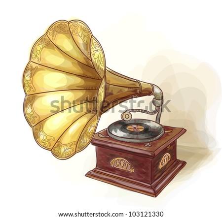 Vintage Gramophone. Wtercolor imitation. Vector illustration.