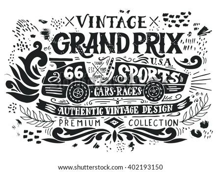 vintage grand prix. hand drawn...