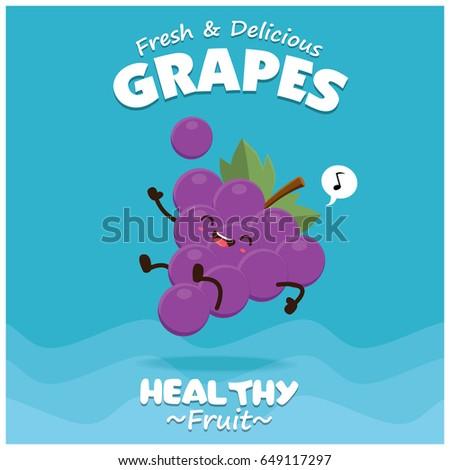vintage grapes poster design