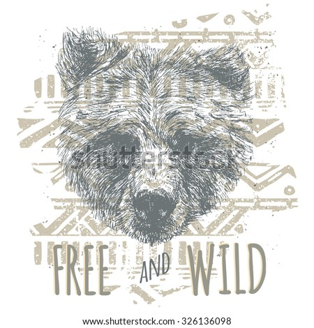 vintage graphic with bear head...