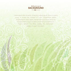 Vintage green abstract vector floral background on stained paper texture with space for your text