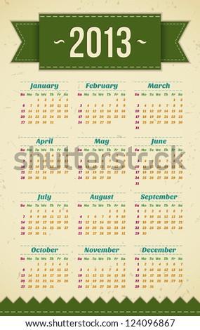 vintage green 2013 calendar