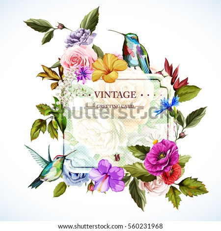 vintage greeting card flowers