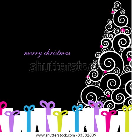 Vintage greeting card with abstract christmas tree