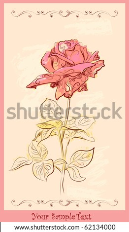 vintage greeting card with red rose.eps 10