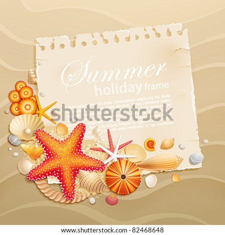 Vintage greeting card with shells and starfishes on sand background. Vector illustration. - stock vector