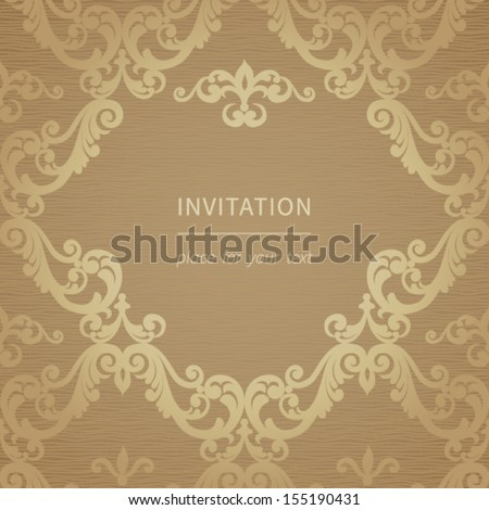 Vintage greeting card with swirls and floral motifs in retro style. Template frame design for card and cover. Vector border in Victorian style. You can place your text in the empty frame. #155190431