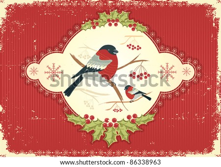 Vintage greeting card with winter bullfinches in winter
