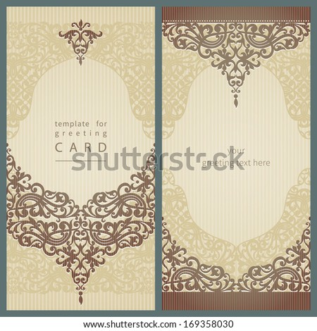 Vintage greeting cards with swirls and floral motifs in retro style Template frame design for card Light green vector border in Victorian style You can place your text in the empty frame