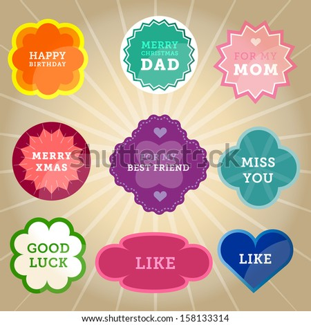 Vintage greeting labels, frames, shapes, stickers, buttons