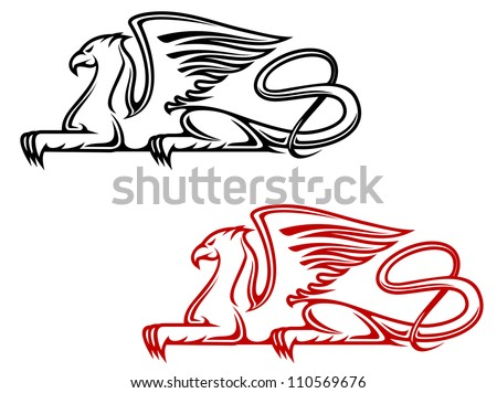 Vintage griffin for heraldic or tattoo design, such a logo. Jpeg version also available in gallery
