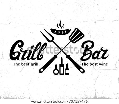 Vintage Grill Bar logo design, grange print stamp, creative grill bar typography emblem, Vector illustration
