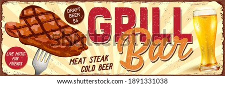 Vintage Grill Bar metal sign.Retro poster 1950s style. Сток-фото ©