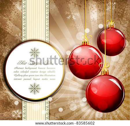 Vintage grunge background with snowflakes and red  New Year balls