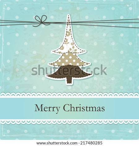 Vintage grunge Christmas background with abstract Christmas Tree
