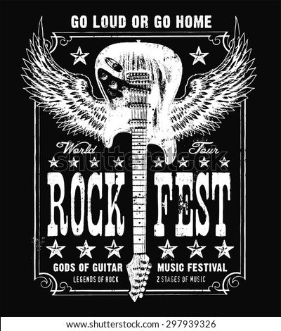 Vintage grunge guitar music poster