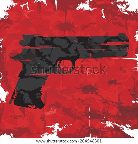 Stock Photo Vintage grunge gun graphic design. Vector illustration