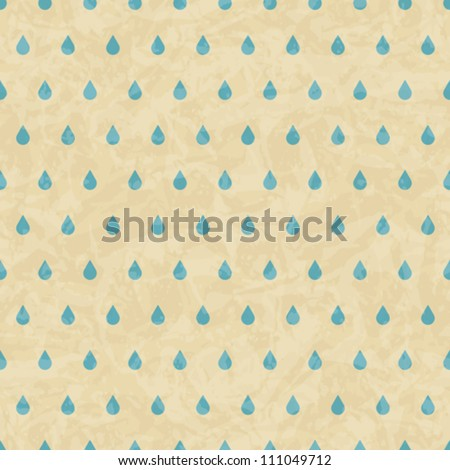 Vintage grunge old seamless pattern with drops. Vector texture.