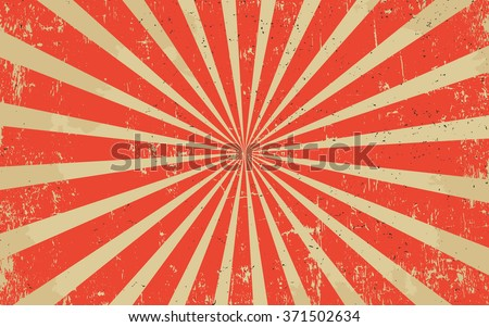 Vintage grunge red radial lines background Rectangle fight stamp for card Retro graphic circus vector texture