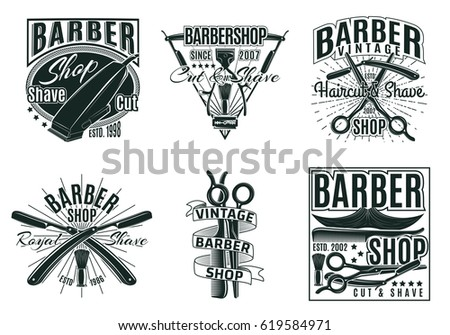 vintage hair saloon labels set...