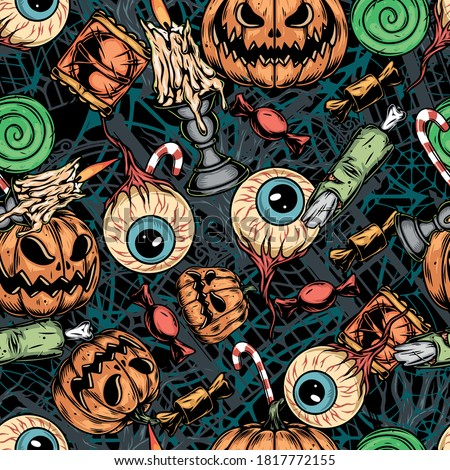 Vintage Halloween colorful seamless pattern with human eyes and body parts with broken bone candies scary pumpkins burning candles in candlesticks vector illustration