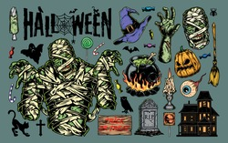 Vintage Halloween elements collection with mummy haunted house pumpkin gravestone human eye witch broom hat candies cauldron zombie body parts cat burning candle isolated vector illustration