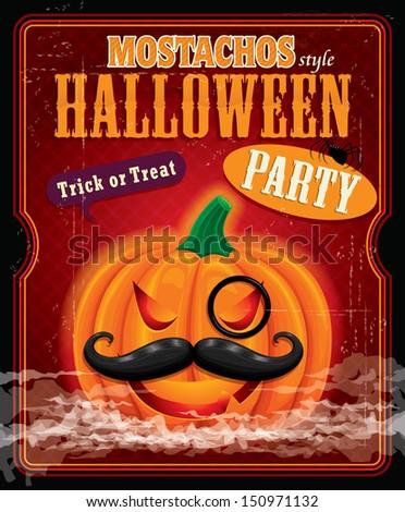 Vintage halloween mostachos style poster design