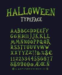 Vintage Halloween Original Typeface. Retro Creepy Style Halloween Font. Vector Illustration. Hand Drawn Halloween Alphabet.