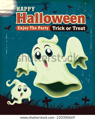 Vintage Halloween poster design with ghost