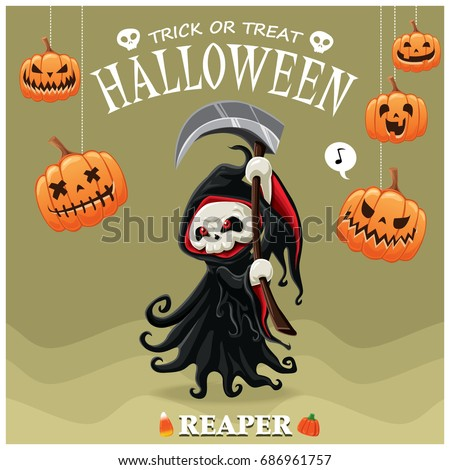 Vintage Halloween poster design with vector reaper character.