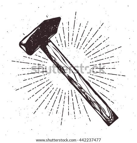 Vintage hammer typography illustration with sunburst and grunge effect. Badge for your design
