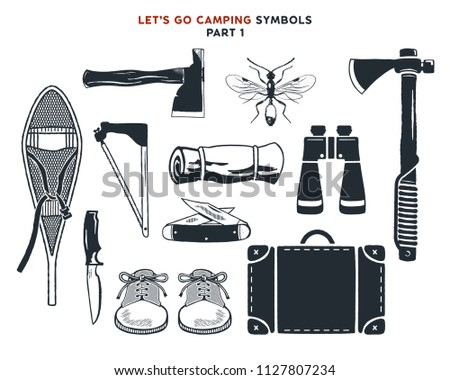 Vintage hand drawn adventure, hiking, camping shapes. Vintage snowshoes, axes, travel bag, binoculars, knife and others. Retro monochrome design. Can be used for t shirts, prints. Stock vector. Vol 1 Stock fotó ©