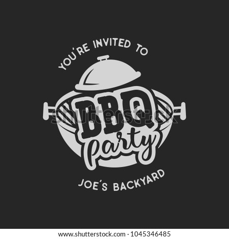 Vintage hand drawn bbq party, barbecue grill badge, label. Retro typography style. Butcher logo design with letterpress effect. Vector illustration isolated on black background
