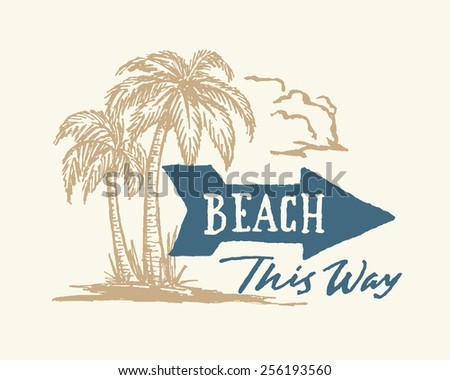 vintage hand drawn beach sign