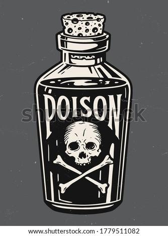 Vintage hand drawn bottle of poison vector illustration.  Сток-фото ©