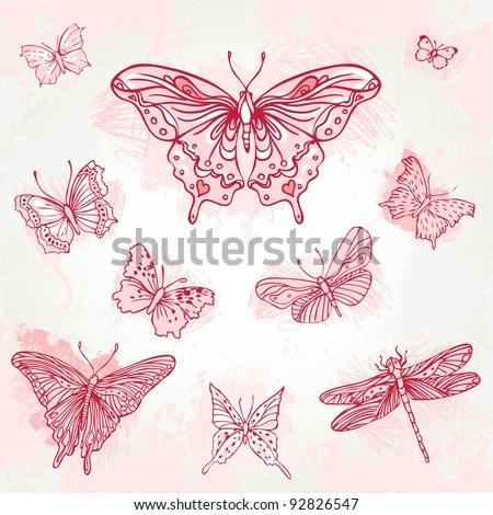 Vintage hand-drawn butterflies set
