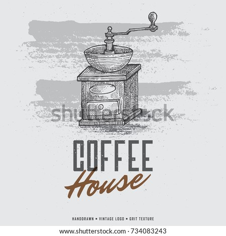 Vintage Hand-drawn Coffee Grinder Logo. Coffee Mill Engraving Illustration. #734083243