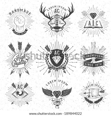 Vintage Hand Drawn Design Elements. Retro, Hipster Style. Arrows, Labels, Ribbons,