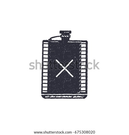 vintage hand drawn flask shape